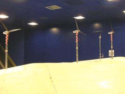 Wind turbines in mountainous region