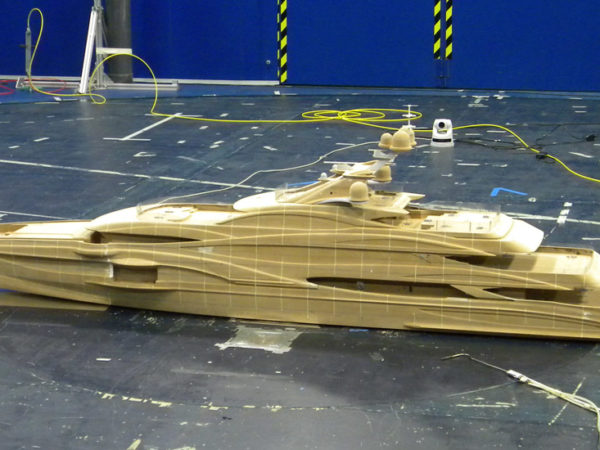 Wind tunnel tests on FB262 Benetti yacht
